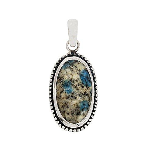 Forma ovalada k2 azul azurita piedra cabujón colgante 925 joyas de plata