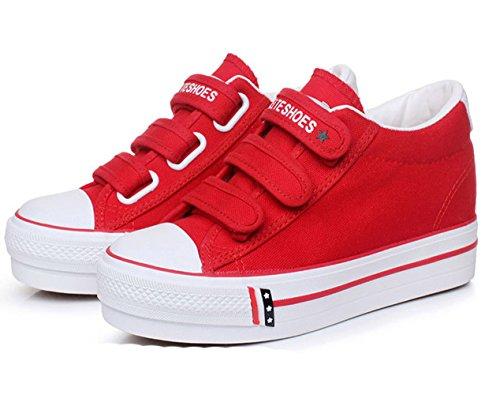 Damen Frühling Sommer Atmungsaktive Klettband Einfache Flache Bequeme Kurzschaft Sneakers Rot