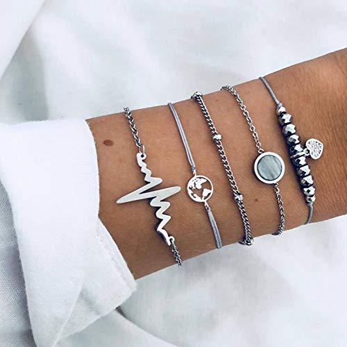er,Fashion Vintage Schildkröte Herz Karte Charme Bracelets Set Für Damen Stein Perlen Armband Weiblichen Boho Schmuck Liebe Unendlich Zubehör ()