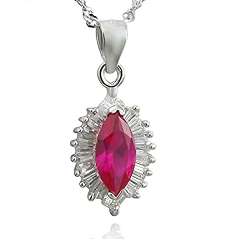 Epinki 925 Sterling Silber Damen Halskette, Kristall Blumen Form Anhänger Elegant Silberkette Damenkette Weiß 1x1.9 CM mit (Cool 2 Person Kostüme)