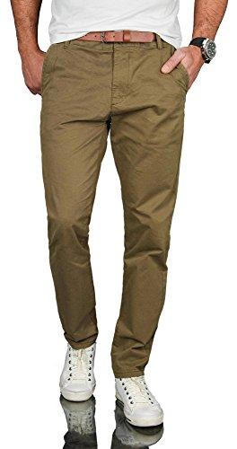 Grün Gerades Bein Hose (A. Salvarini Herren Designer Business Chino Hose Chinohose Regular Fit AS-095 [AS-095 - Olive - W33 L34])