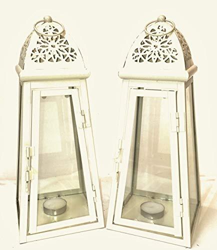 Set di 2lanterne, colore: crema, in metallo e vetro, altezza 30cm, con candele t-light