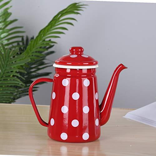 Esmalte tetera tetera hervidor 1.1L engrasador esmalte hervidor esmalte olla de agua fría tetera tetera cafetera café té hotel de negocios GM, B