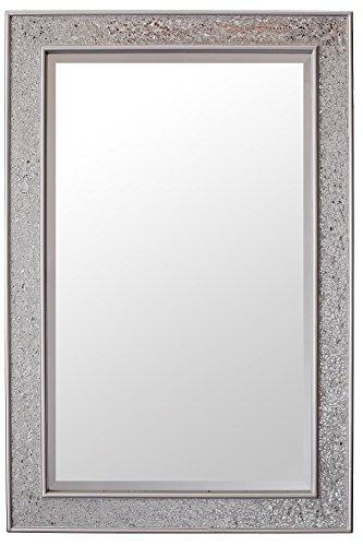 Glamour by casa chic specchio mosaico - argento - legno - grandi - 90 x 60 cm