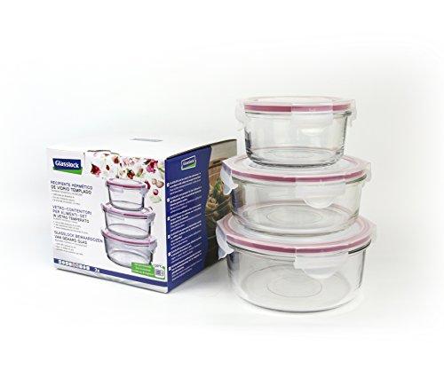 GLASSLOCK Runde Frischhaltedosen, Glas, Rosa/Transparent 16.5 x 16.5 x 15 cm