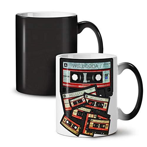 Wellcoda Musik Kassette Band Farbwechselbecher, 90er Jahre Tasse - Großer, Easy-Grip-Griff, Wärmeaktiviert, Ideal für Kaffee- und Teetrinker