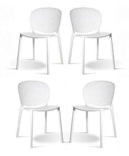 Meubletmoi Lot de 4 chaises Blanches empilables - Design Contemporain - Robustes et légères - BILY Blanc