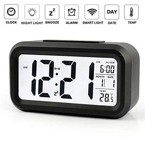 OurLeeme Reloj de Alarma Digital, batería Batería de Noche Pantalla LCD Sensor de luz Reloj de Alarma...