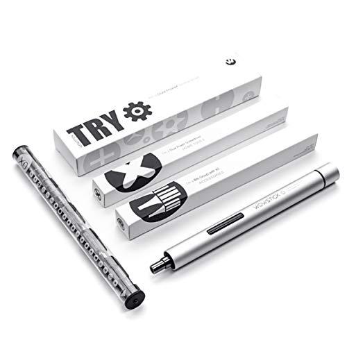 Zeroall Mini Portable Akkuschrauber Bohrschrauber Professionel Präzision Schraubenzieher Set mit 20 S2 Steel Bits für Handy Notebook PC Uhr Elektronik Reparatur Tool Kit(Silber)