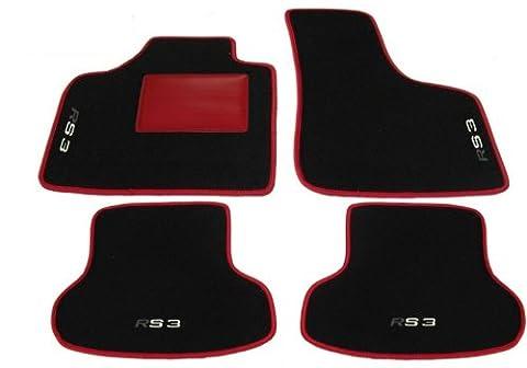 Audi Rs38P 8Pa partir de 2003à 2012tapis de voiture Noir avec bordure rouge et seuils Rouge, Set complet de tapis en moquette sur mesure avec broderie à fil noir
