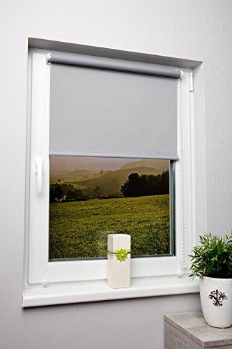 Rollo lichtdurchlässig in vielen Farben und Größen Klemmfix ohne Bohren Fensterrollo für kleine und große Fenster und Türen Sichtschutzrollo Seitenzugrollo Klemmrollo Grau 70x150 cm
