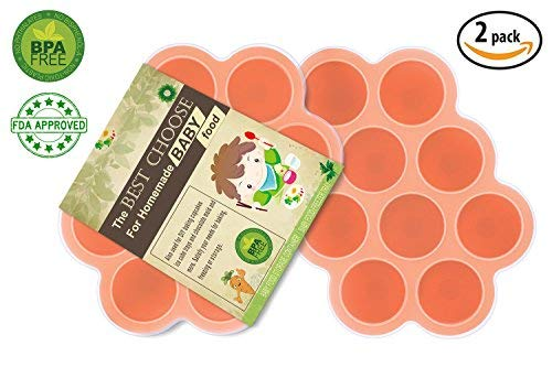 Silikon Baby Food Gefrierschrank Tray Mit Deckel - Wiederverwendbare Mold Storage Container Hausgemachte Baby Food - Gemüse, Obst Purees, Brust Milch und Eiswürfel - BPA Frei & FDA Zugelassen Food-service-container