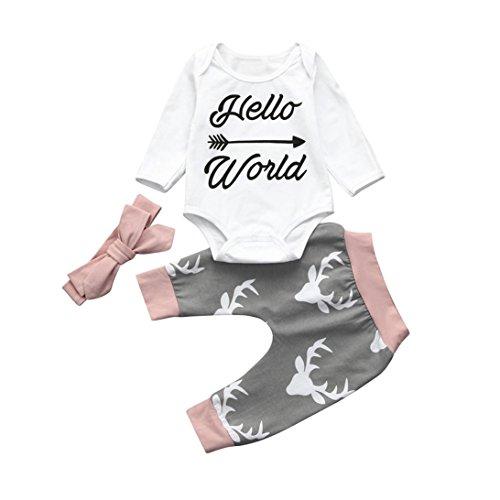 Baby Outfits Weihnachts für 6–24Monate, janly® Daddy 's Mädchen Strampler Body + Elk Drucken Hosen-+ Haarband 3Lovely Weihnachten Kleidung Sets, Grau
