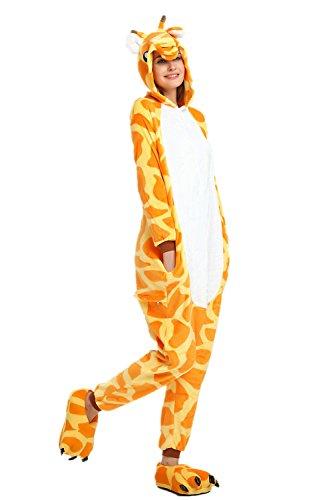 Missley Einhorn Pyjamas Kostüm Overall Tier Nachtwäsche Erwachsene Unisex Cosplay (L, Giraffe) (Kostüm Mädchen Giraffe)