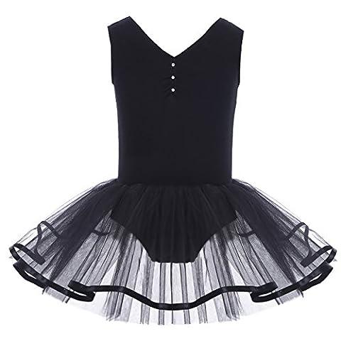 YiZYiF Mädchen Ballettanzug Ballettkleid Ballett Trikot Turnanzug Mädchen Kleider 98 104 110 116 122 128 140 152 164 (140-152, V-Ausschnitt ( Schwarz))