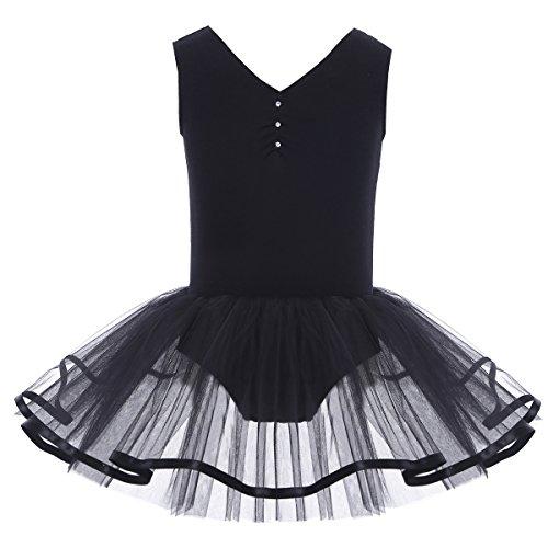YiZYiF Mädchen Ballettanzug Ballettkleid Ballett Trikot Turnanzug Mädchen Kleider 98 104 110 116 122 128 140 152 164 (140-152, V-Ausschnitt ( (Trikot Halloween Kostüme)