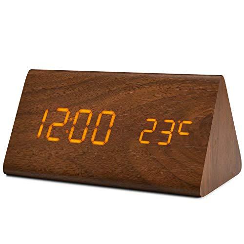 fomobest LED Wecker Digital Wecker Wiederaufladbar Holz Tischuhr Datum/Temperatur Anzeige Walnuß