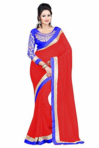 Winza Designer Chiffon Saree With Blouse Piece (_Red_Free Size)