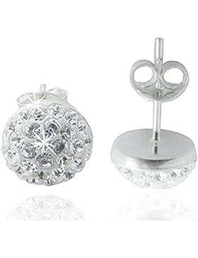 EYS JEWELRY® Damen-Ohrringe Halbkugeln 6 x 6 mm Preciosa Elements Glitzer Kristalle 925 Sterling Silber weiß im...
