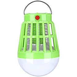 YXACE Lampe Anti-Moustique UV Night Light 2-en-1 Camping Lantern Mosquito Zapper Solaire Et USB Power Insect Killer Tente Light Green