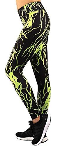 Neonysweets Femme Leggings Long Pantalon Sport Yoga Entraînement Taille Normale Vert