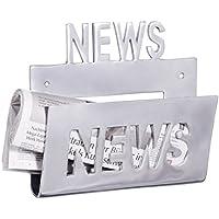 Wohnling revistero de metal pared decorativa, periódico stönder mínimo estilo industrial de aluminio plateado Tono Screw On höngen revista stönder höngend con bandeja de almacenamiento 30x 27cm