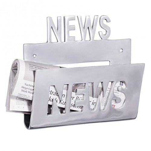 Wohnling Deko Wand Zeitungsstönder Alu-minium Zeitungshalter Metall Zeitschriftenhalter Industrial Style Silber-farben zum auf-höngen Vintage Zeitschriftenstönder höngend mit Ablagefach 30 x 27 cm (Metall Wand)