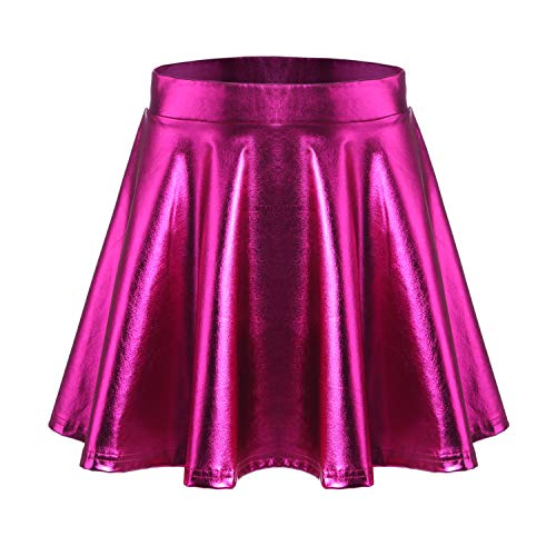 Parabler Damen Metallic Rock SkaterRöcke Faltenrock Basic Hohe Taille Röcke Sexy Mini Glocken Rock Party Silber/Gold/Rosa