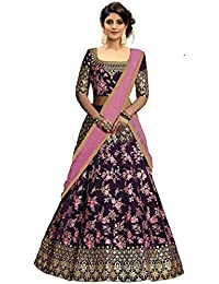 d5f56d2b34197f Suppar Sleave Women's Taffeta Silk Embroidered Lehenga Choli with Blouse  Piece (Pink,Free Size