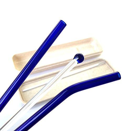 furuipeng Glas Trinkhalm mit Weizen Stiel Schutztasche Halter–SIP Glas Rührwerk Stick und Reinigungsbürste blau
