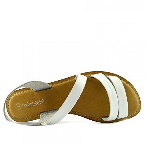 Kick Footwear - Moda Donna Estate Casual Sandali Scarpe Di Cuoio Naturale Bianco F0936