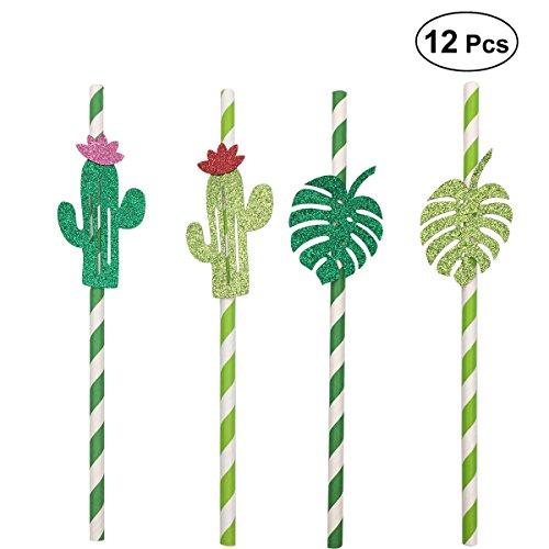arty Strohhalme Trinkhalme Papier Strohhalme Luau Party BBQ Dekoration 12 STÜCKE (Kaktus und Monstera) ()