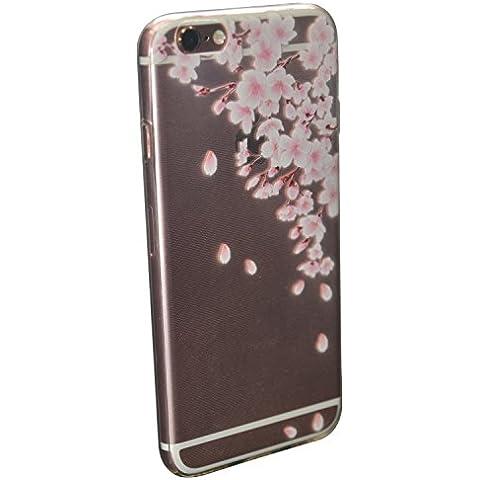 ICHOW Caso ultra delgado teléfono flexible claro transparente de la cubierta del protector patrón wintersweet para Iphone 6 6s