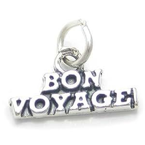 Bon Voyage sterling silver charm .925 x1 Leaving Trip Good Journey charms CF4926