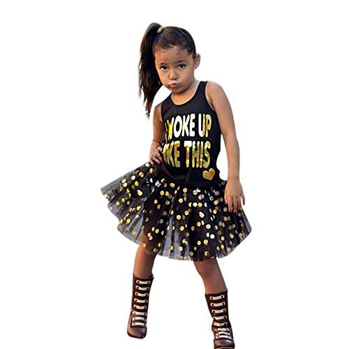 HUIHUI Mädchen Tütü Rock Petticoat Tüllrock Ballkleid Abendkleid Ballettrock + Prinzessin Drucken Weste Perfekt für Fasching rosenmontag 2019 (90 (1.5-2Jahre), Schwarz)