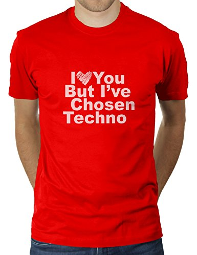 Likoli I Love You But I've Chosen Techno - Herren T-Shirt von KaterLikoli, Gr. L, Red (Herz Red-t-shirt Seele)