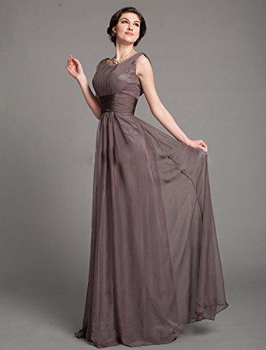 Dressvip Femme Robe Mère pour Mariage Longue Col Rond avec Bretelles Sans Manches Chocolat Robe de Soirée Chocolat