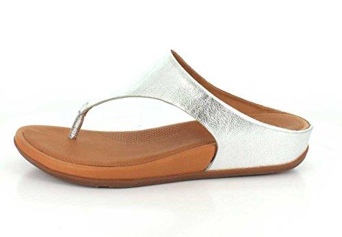FitFlop  Banda Silver, Tongs pour femme argent Silver Gris
