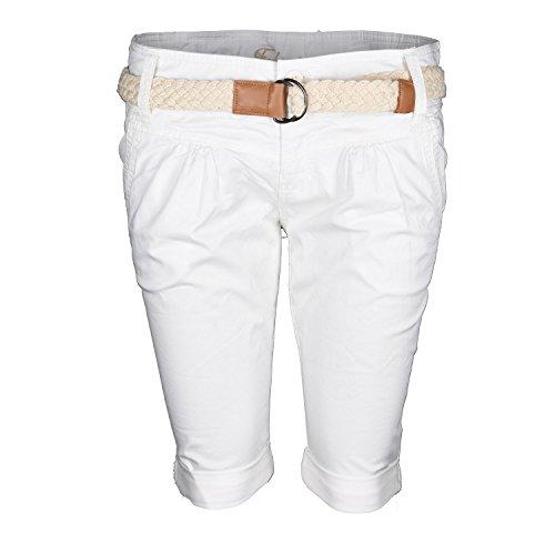 Fresh Made Damen Short Sommer kurze Hose Chino Shorts inkl. Bermuda Gürtel  B458 Off- fd3d12f5ec