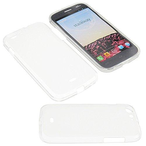 Tasche für Wiko Stairway Gummi TPU Schutz Handytasche milchig transparent