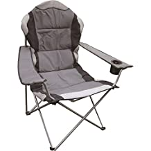 Eurotrade W Ltd Deluxe Portable Folding Camping Deck Chair Grey Black Foldable Fishing Picnic Beach Garden Patio Furniture Seat