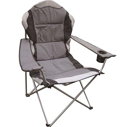 Eurotrade W Ltd Deluxe Portable Folding Camping Deck Chair Grey Black Foldable Fishing Picnic Beach Garden Patio Furniture Seat