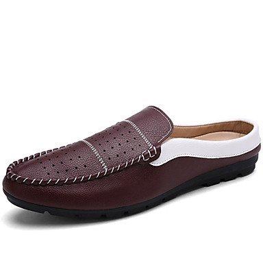 Herren Schuhe Casual Leder Clogs & Pantoletten Schwarz/Blau/Weiß Burgund burgund