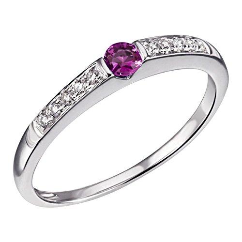 Goldmaid Damen-Ring Memoire 585 Weißgold rhodiniert Rubin rot Brillantschliff Diamant (0.10 ct) Gr. 58 (18.5) Verlobungsring Diamantring