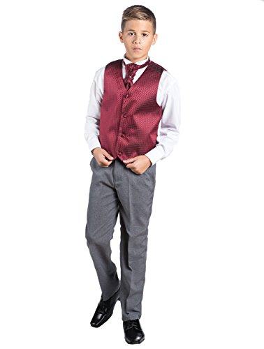 Paisley of London Kostüm Weste Jungen, Seite Jungen folgt, Motiv Diamant, Hose grau, 3-6m-14Jahre Gr. 10 Jahre, (Cravate Bordeaux Kostüm)