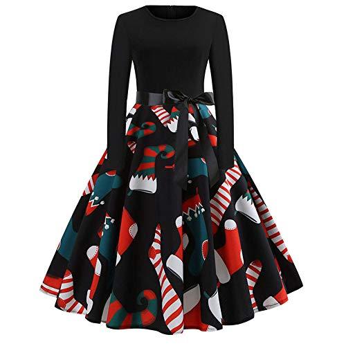 TEBAISE Weihnachten Kleid Damen Vintage 50er Jahre Kleid Rockabilly Cocktail Abendkleid Festliches...