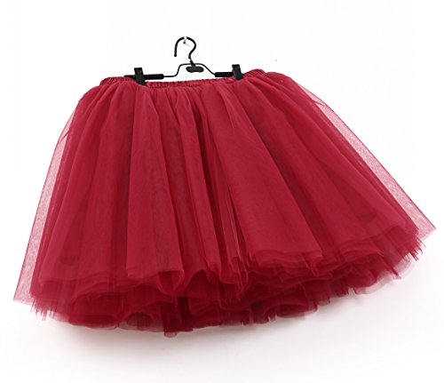 SCFL Donna Tutu Gonna Petticoat Underskirt Balletto Gonna Slip Half Borgogna