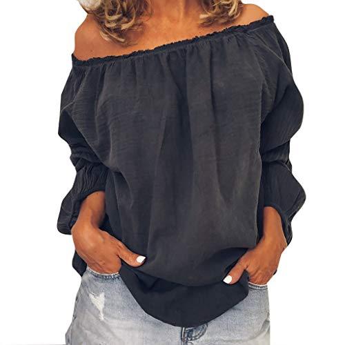 Pullover Sweatshirt für Damen,Kobay 2019 Halloween Heiligabend Weihnachten Plus Size Frauen Solide Casual Leinen Schulterfrei Bluse Shirt Blusen T Shirt Tops Sweater Mustard Cord