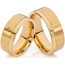 2 alianzas de póster con anillos de alianzas y corazones de compromiso anillos 18 K chapado en oro con diamante en el anillo para mujer