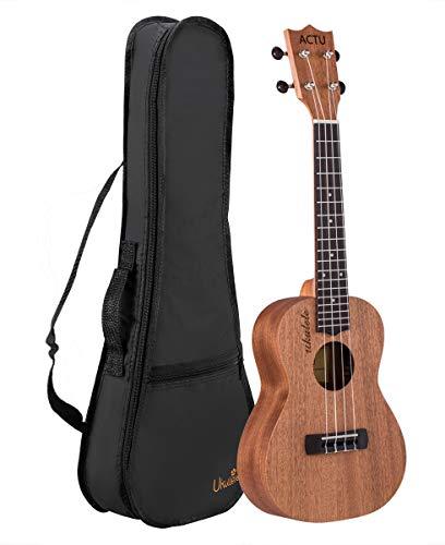 Ukulélé professionnel pour enfant en acajou en palissandre - Petite guitare pour enfant - Ukulélé débutant 23 Inch Concert rose